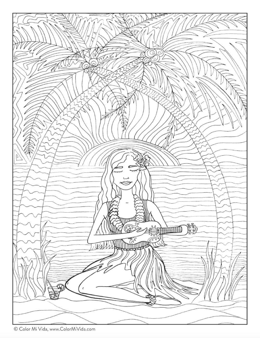 Color Mi Vida Free Coloring Page for Adults