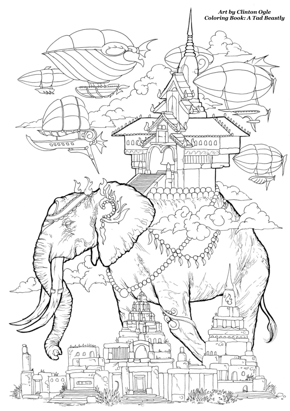 An elephant free adult coloring page from Clinton Ogle. Adult coloring book A Tad Beastly
