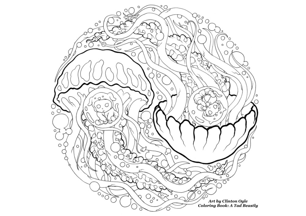 Jelleyfish free adult coloring page from Clinton Ogle. Adult coloring book A Tad Beastly