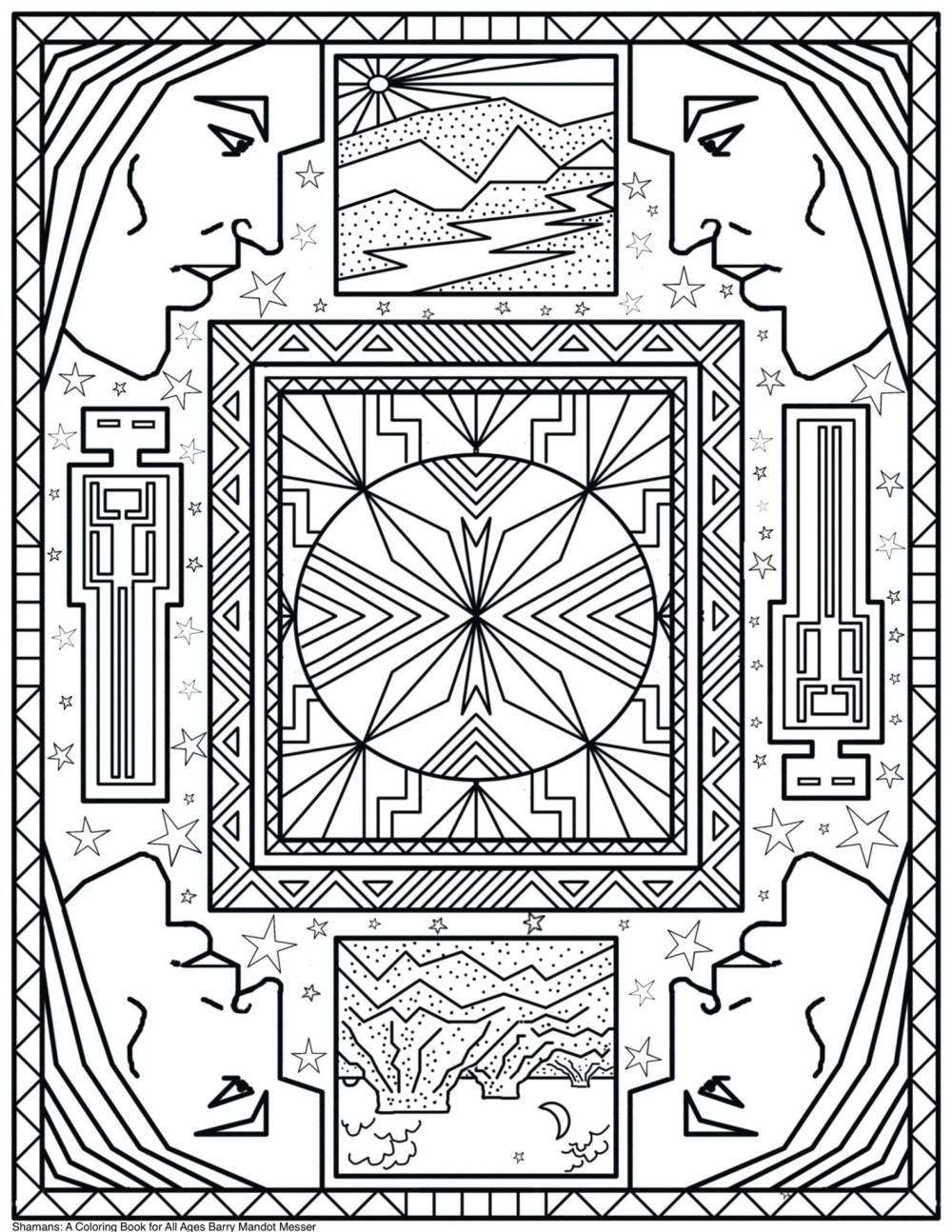 Shamans Coloring book by Barry Mandot Messer Free coloring page for adults