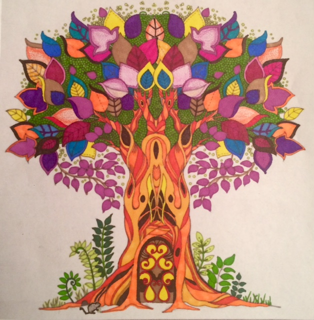 #angelacolorz Enchanted Forest by Johanna Basford and adult coloring Enchanted Forest with Artist Loft Pencils, Bic Mark-it's, and Sharpie Markers