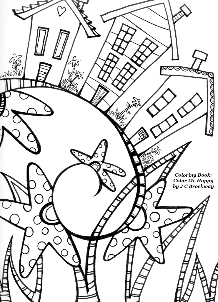 Free Coloring Page from Adult Coloring Worldwide. From the Color Me Happy: a coloring book for adults by J C Brockway whimsical doodle art
