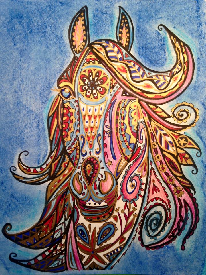 Horse Art and Coloring by Marie-Justine Roy lineart illustrator and artist.