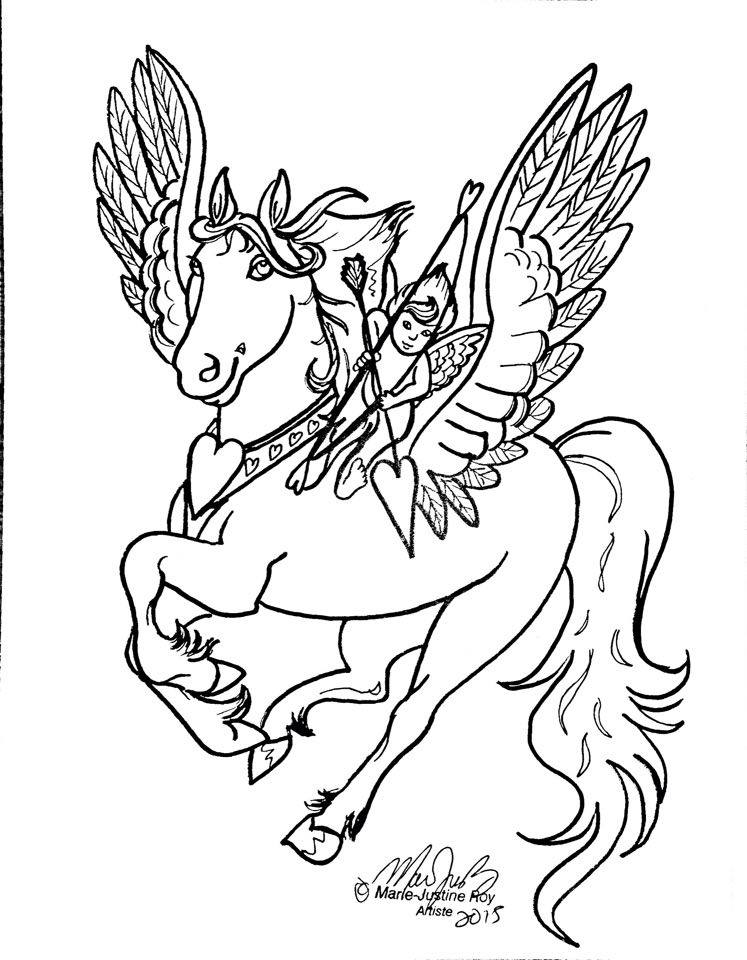 Free Coloring Page Valentine Pegasus Cupid Art by Marie-Justine Roy lineart illustrator and artist.