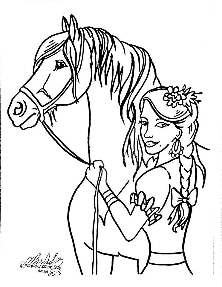 Free Coloring Page Maiden Horse Art by Marie-Justine Roy lineart illustrator and artist.