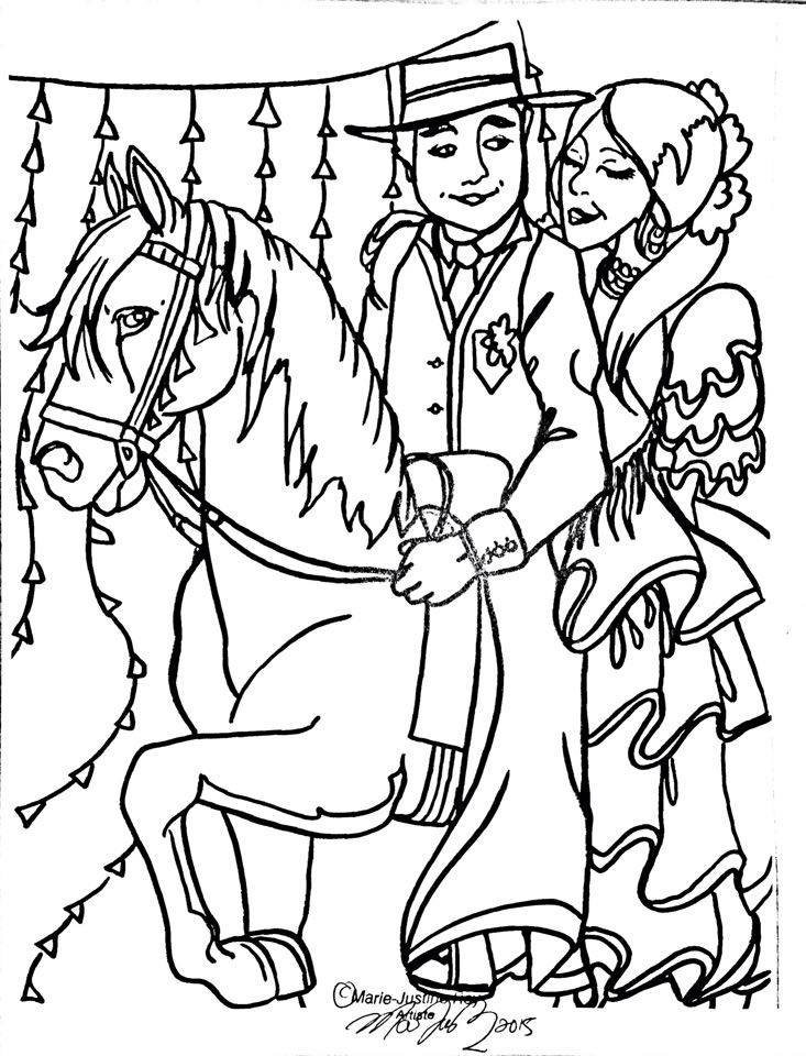 Free Coloring Page Art by Marie-Justine Roy lineart illustrator and artist.