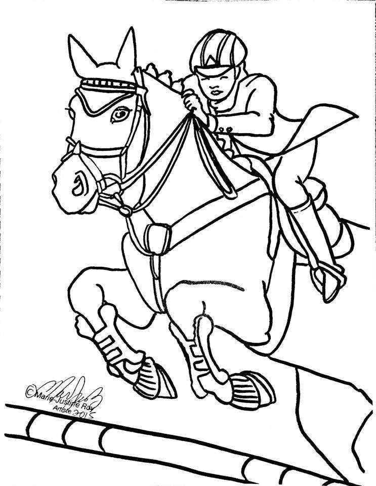 Free Coloring Page English Jumping Horse Art by Marie-Justine Roy lineart illustrator and artist.