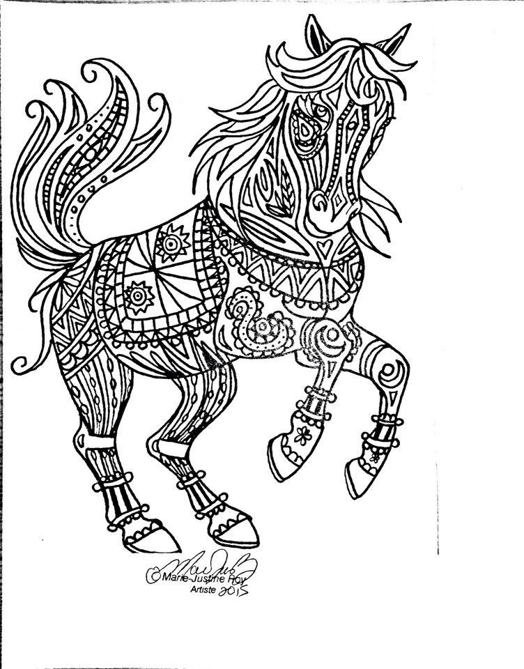 Free Coloring Page Tribal Horse Art by Marie-Justine Roy lineart illustrator and artist.