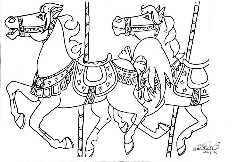 Free Coloring Page Merry Go Round Horses Art by Marie-Justine Roy lineart illustrator and artist.