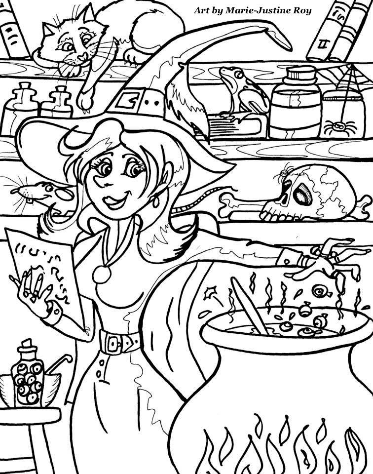 Halloween witch Art by Marie-Justine Roy lineart illustrator and artist.