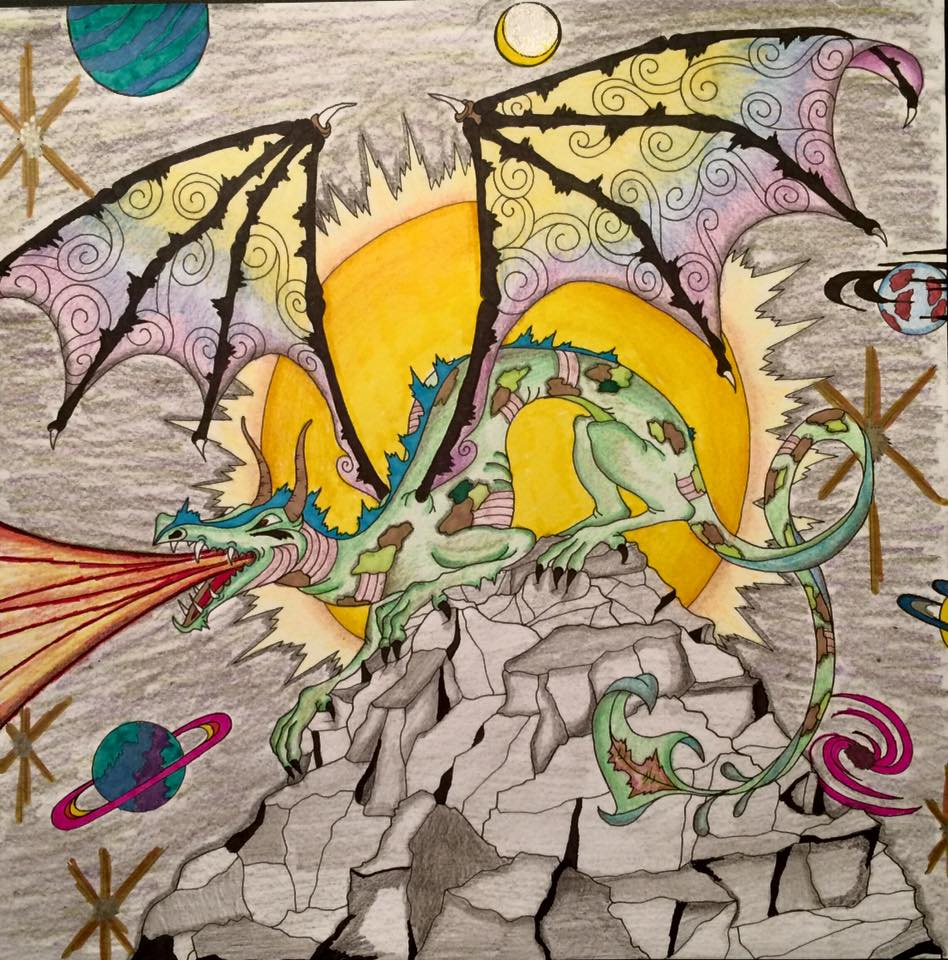 #angelacolorz Art by Jane Sullivan, Dragons Coloring Book by Peter Pauper Press
