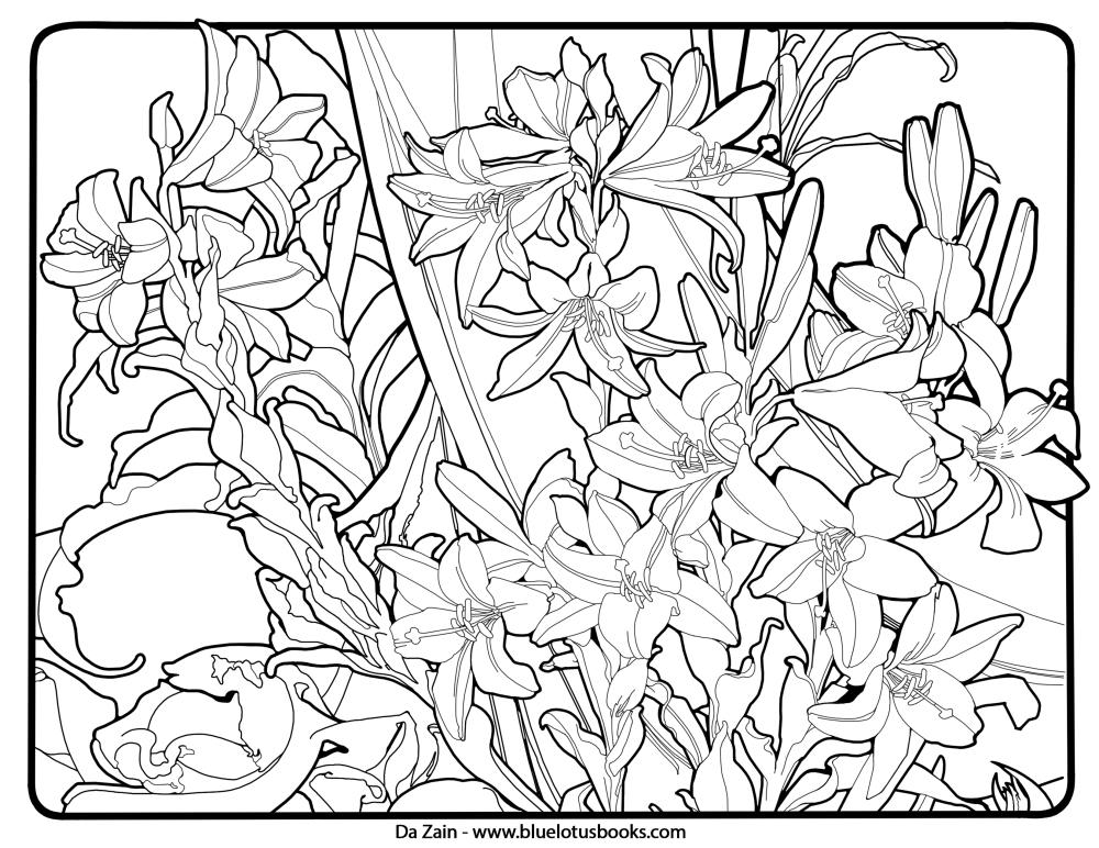 Coloring Pages Art : Alfons mucha art nouveau free adult coloring pages
