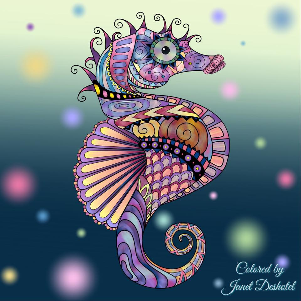 Janet Deshotel colors seahorse digitally with Pigment App for iPhone iPad.
