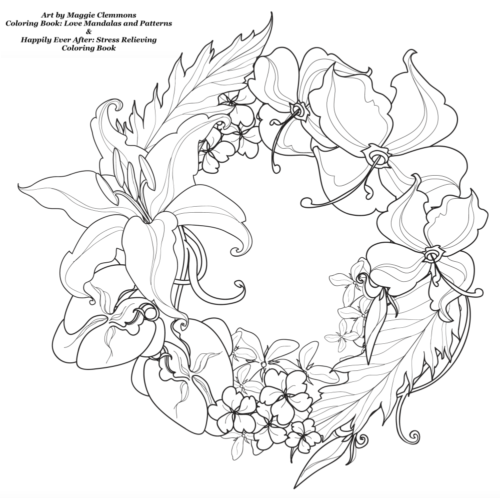 Free coloring pages love -  Free Coloring Pages From Adult Coloring Worldwide Art By Maggie Clemmons Coloring Book Love Mandalas