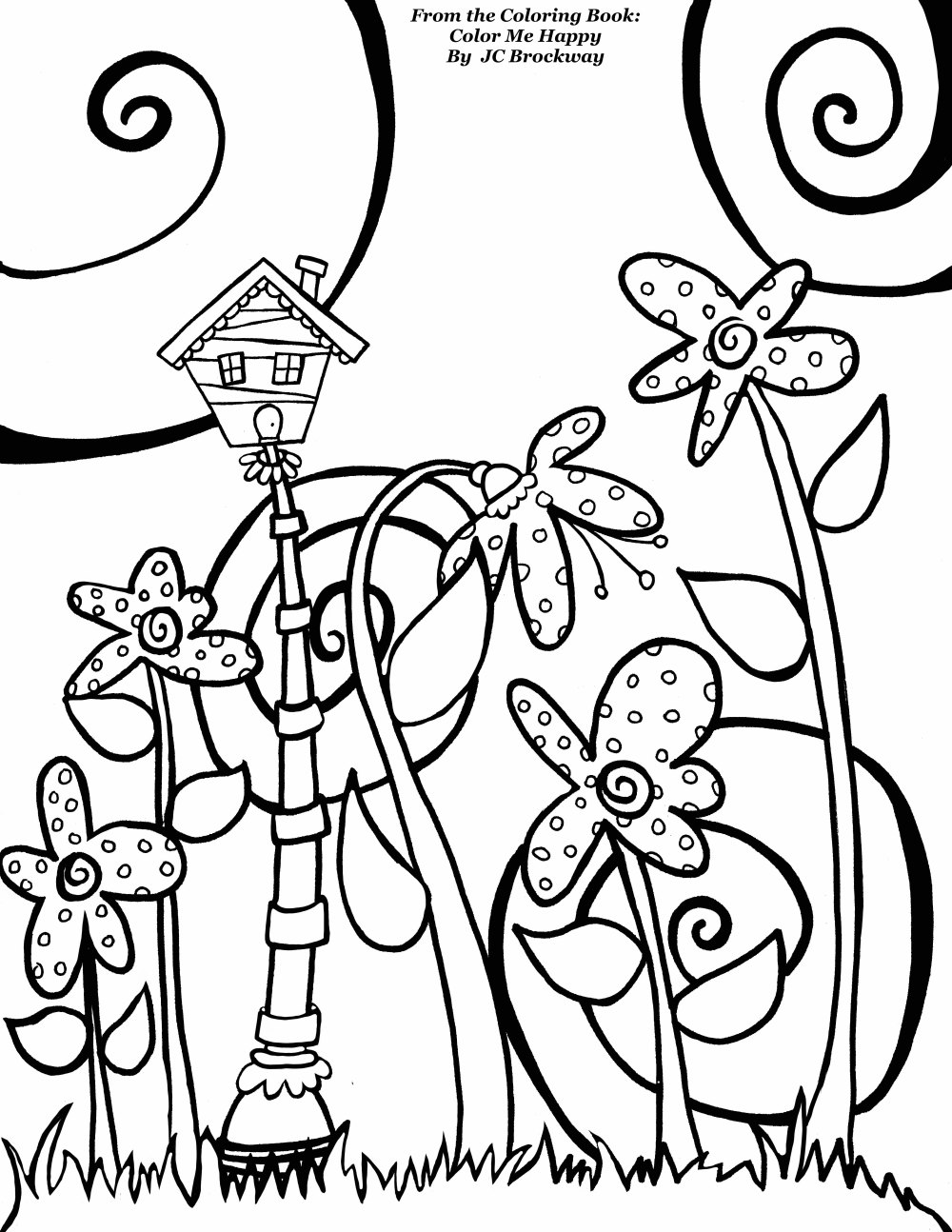 "Free Birdhouse Coloring Page from Adult Coloring Worldwide. From the coloring book ""Color Me Happy"" by J C Brockway whimsical doodle art"