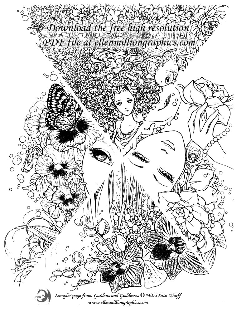Gardens And Goddesses Adult Coloring Book Free Coloring Page Sampler from Ellen Million