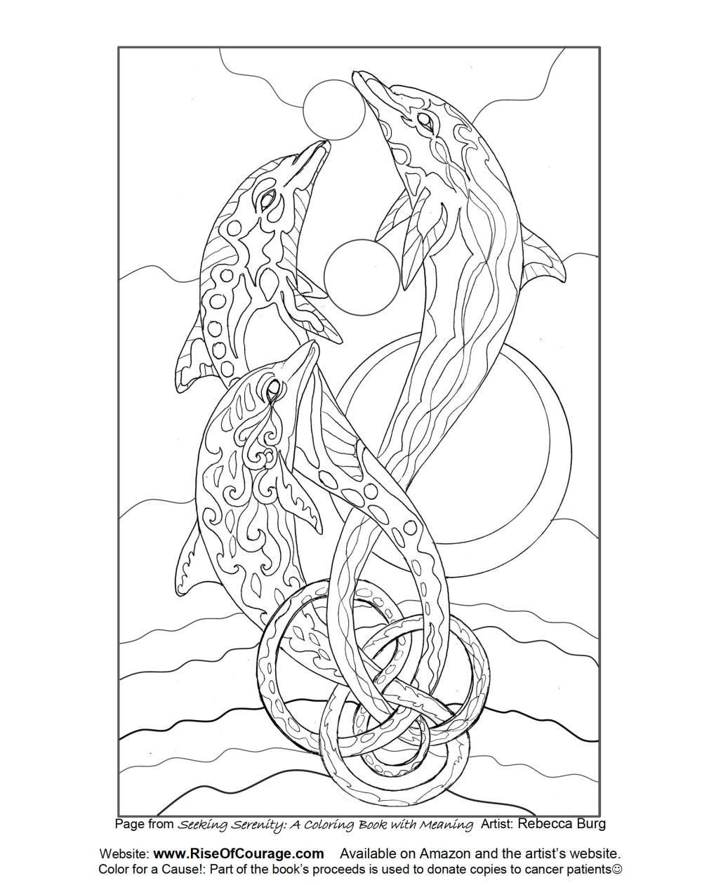 Free Coloring Page dolphin ocean sea life From the Seeking Serenity Adult Coloring Book By Rebecca Burg