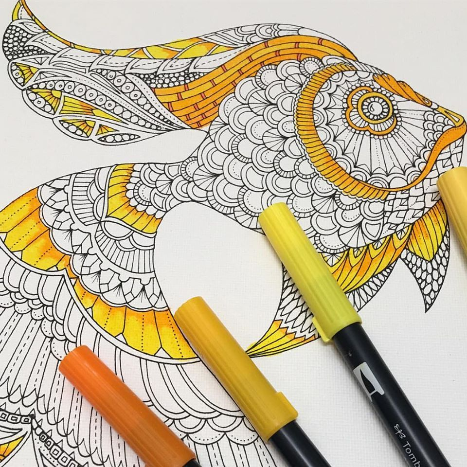 Johanna Basford coloring canvas goldfishJohanna Basford coloring canvas Lost Ocean The Goldfish