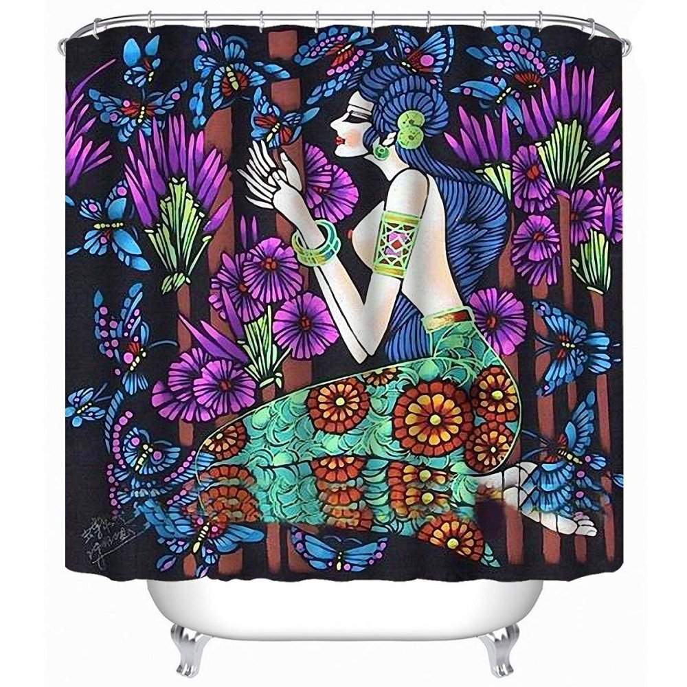 Mermaid and butterflies shower curtain for adult coloring enthusiasts