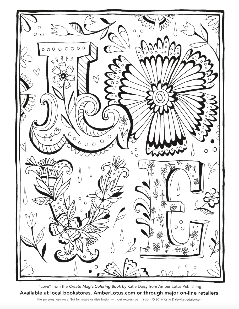 Love coloring page by Katie Daisy from the Create Magic Coloring Book