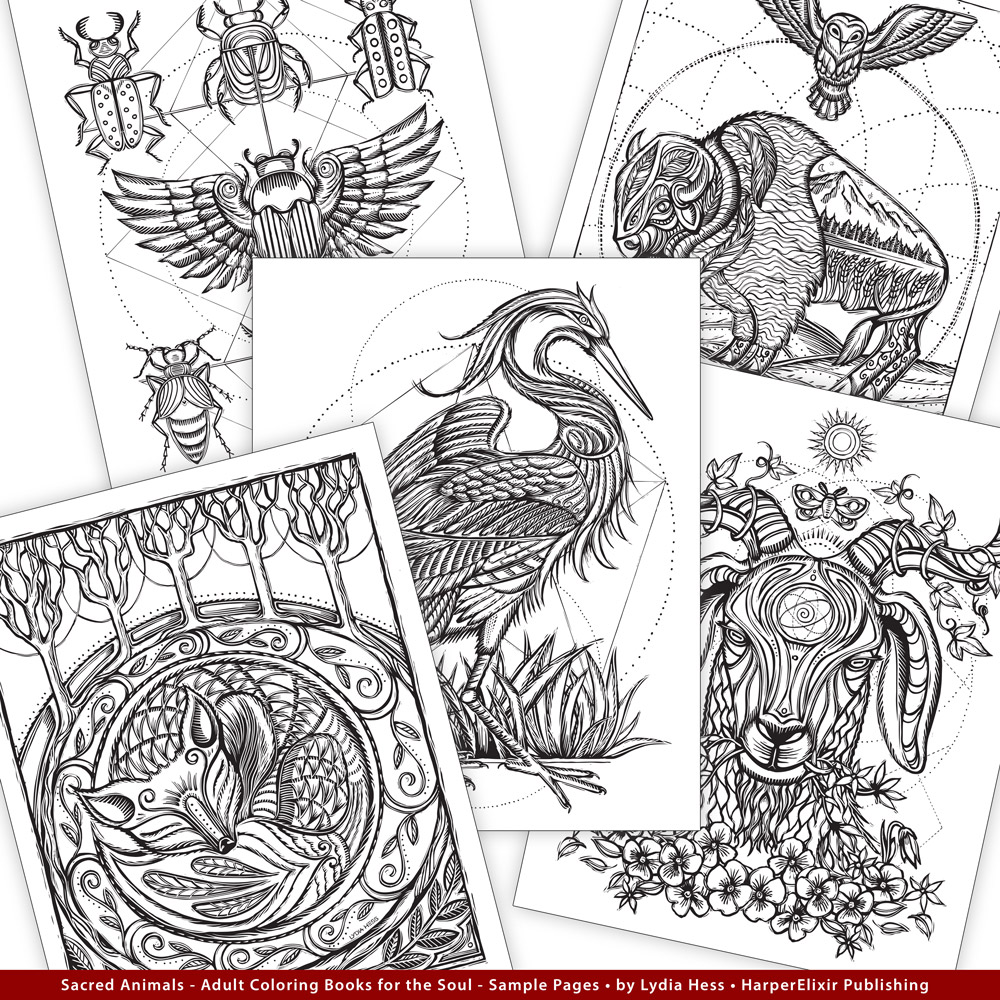 Sacred Animals Adult Coloring Book by Artist Lydia Hess Mystical Magical Coloring Pages