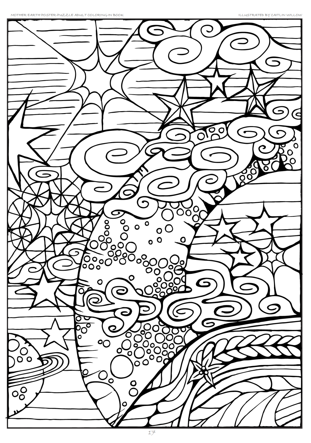Free Coloring Page from Mother Earth Poster-Puzzle Adult Coloring-In Book. Bringing you back to nature and unlock your creativity. by Caitlin Willow Greyling