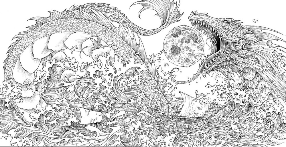 Mythomorphia Adult Coloring Book by Kerby Rosanes dragon