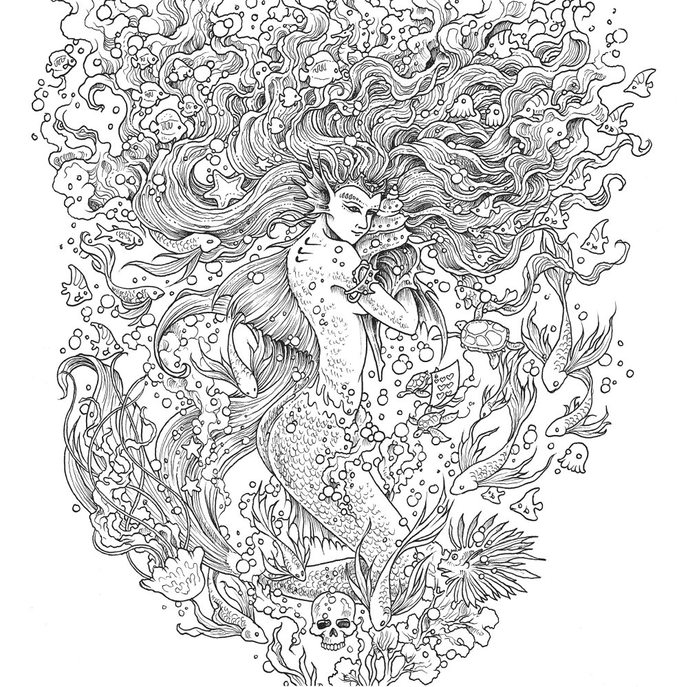 Mythomorphia Adult Coloring Book by Kerby Rosanes Mermaid