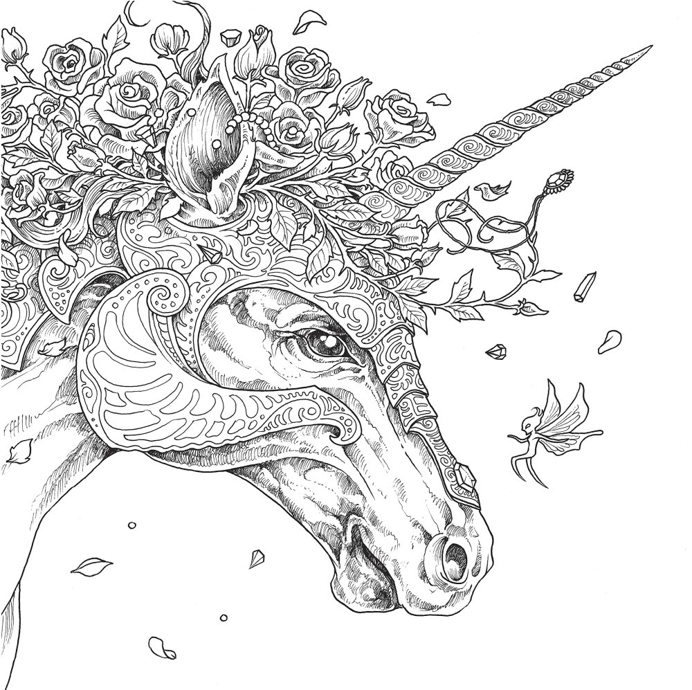 Mythomorphia Adult Coloring Book by Kerby Rosanes Unicorn